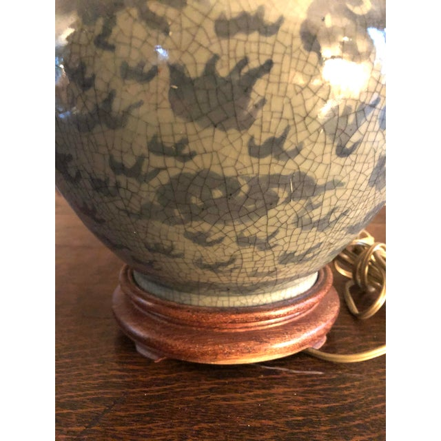 Late 19th Century Antique Chinese Hu Form Blue & White Smooth Glaze Ko Ware Vase Lamp For Sale - Image 5 of 12