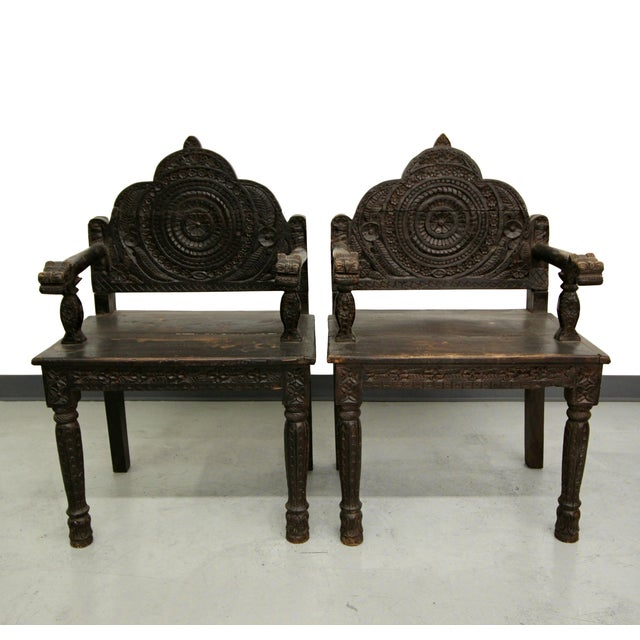 Antique Carved Wood Occasional Chairs - A Pair - Image 2 of 11