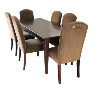 Antique Farmhouse Table & Velvet Chairs