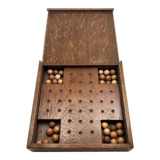 1920s Oak Marbles Game Board With Clay Marbles For Sale