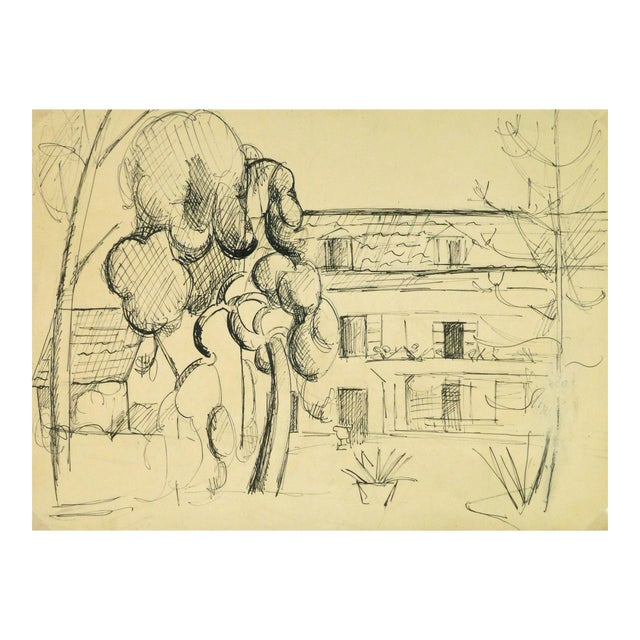 """Vintage Ink Drawing """"House of Merriment"""" For Sale"""