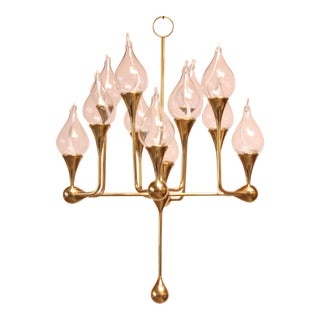 West German Brass and Glass Oil Lamp Candelabra by Freddie Andersen For Sale