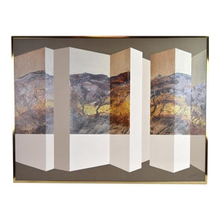 Vintage Mid-Century Modern Geometric Abstract Landscape by Henderson For Sale