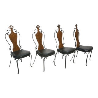 French Iron & Wood Bistro Chairs - Set of 4