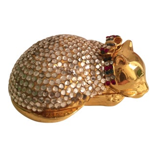 1980s Vintage Judith Leiber Cat Pill Box For Sale