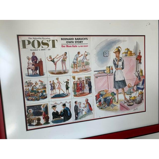 Framed 1960 Saturday Evening Post Illustration For Sale - Image 11 of 13