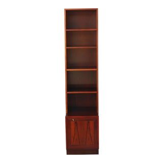 Tall Skinny Rosewood 2 Piece Cabinet with Shelves For Sale