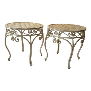 Pair of White Lattice Top Heavy Iron Patio Side Tables For Sale