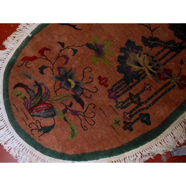 1920s Handmade Antique Oval Art Deco Chinese Rug - 3' X 4.10' - Image 6 of 7