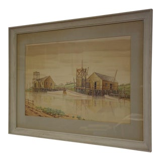 Watercolor Harbor Painting For Sale