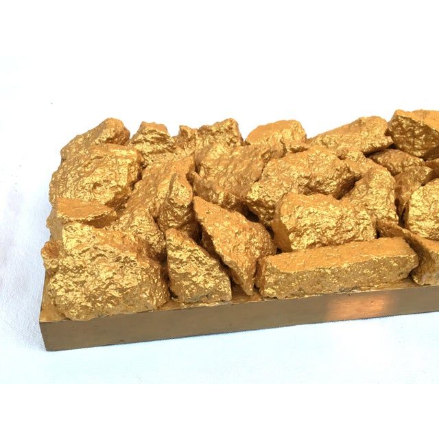 "Metal ""Gilt Duplicidad"" Gold Concrete Rock Sculpture For Sale - Image 7 of 11"