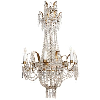 Empire Form Crystal Chandelier For Sale