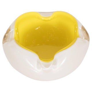 Midcentury Murano Opaque White Glass and Lemon Yellow Decorative Dish For Sale