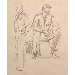 """1950s """"Military Men"""" Drawing For Sale"""