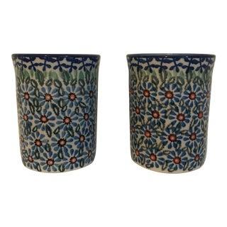 Handmade Floral Tumblers - a Pair