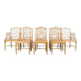 Faux Bamboo Chinese Chippendale Dining Chairs - Set of 8 For Sale