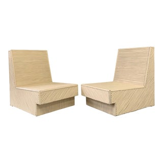 Mid-Century Split Reed Bamboo Lounge Chairs- a Pair For Sale