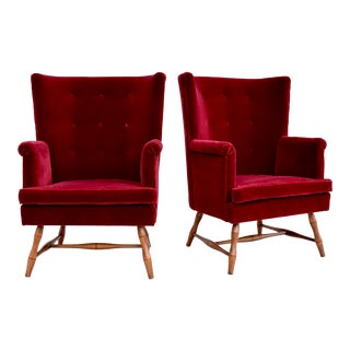 Bunny Williams Westcott Wingback Chairs in Mohair For Sale