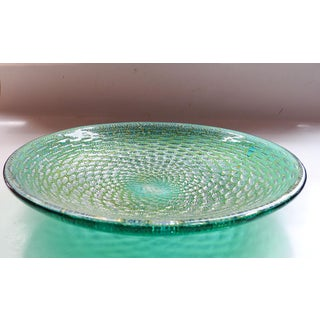 Mid Century Turqouise & Gold Murano Glass Bubble Bowl Preview