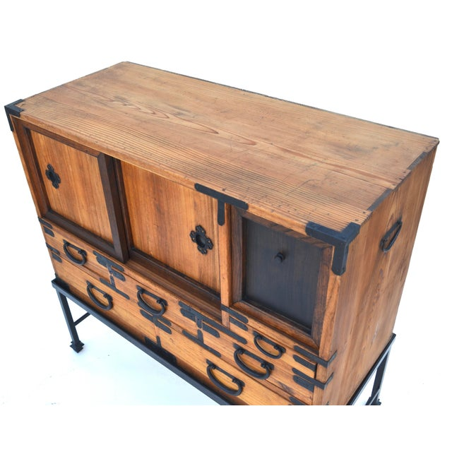 Antique Japanese Choba Tansu With Iron Base For Sale - Image 4 of 12