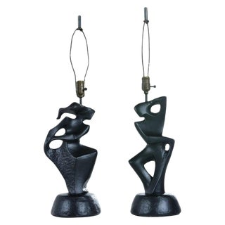 Black Ceramic Modern Cubist Figural Male & Female Table Lamps by Rima Ny For Sale