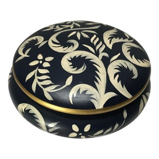 Mid Century Hand Painted Danish Catchall With Lid For Sale