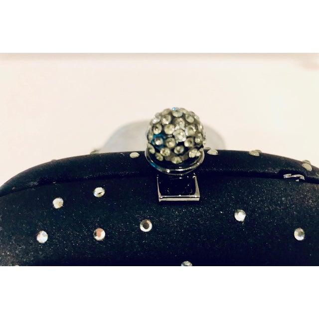 Rodo Black Silk Crystal Embellished Evening Purse For Sale - Image 4 of 6