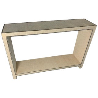Modern Chic Console Table With Raffia and Nickle Head Trim For Sale