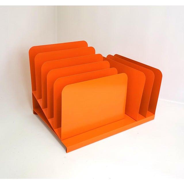 1960s Tanker Desk Record Album Office Organizer Magazine Rack Orange Mail Sorter For Sale - Image 4 of 10