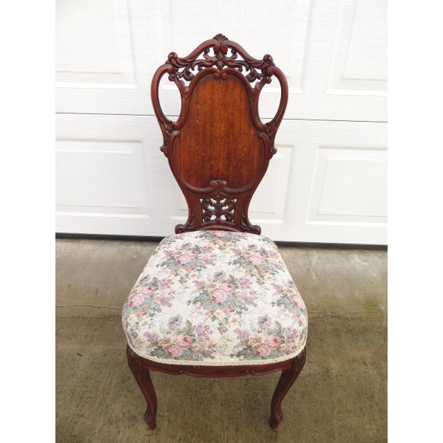 Art Nouveau Late 19th Century Antique French Carved Mahogany Art Nouveau Side Chair For Sale - Image 3 of 13
