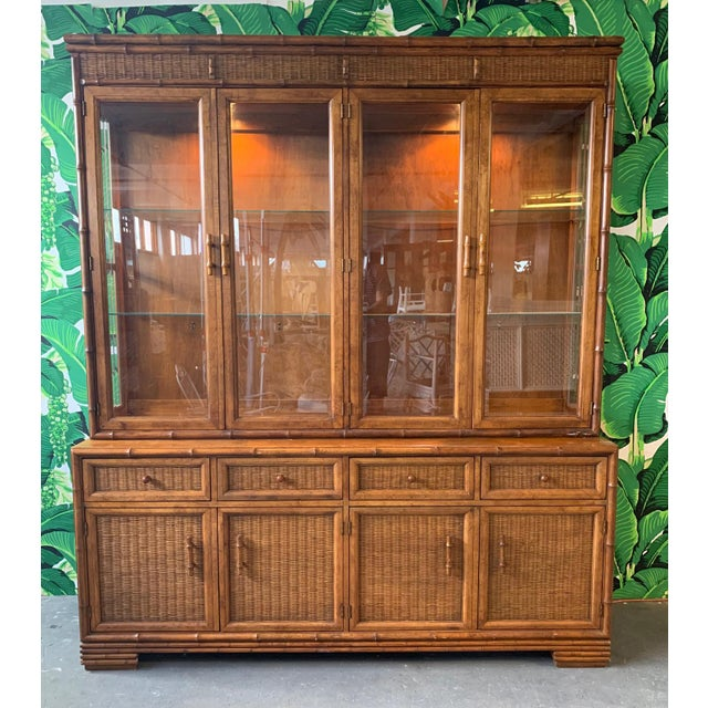 Faux Bamboo and Rattan China Cabinet by American of Martinsville For Sale - Image 10 of 10