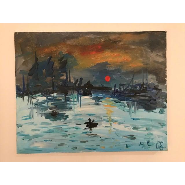 "Blue Art Student's Copy of Monet's ""Impression:Sunrise"" 1980s For Sale - Image 8 of 8"