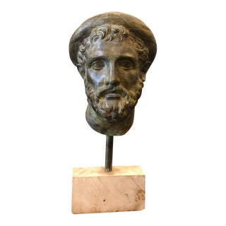 1950s Italian Neoclassical Man's Head Bronze Sculpture, Circa 1950 For Sale