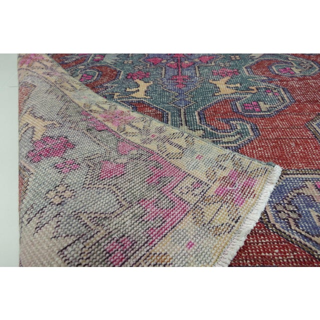 Cotton 1970s Vintage Turkish Handwoven Rug - 4′3″ × 7′1″ For Sale - Image 7 of 10