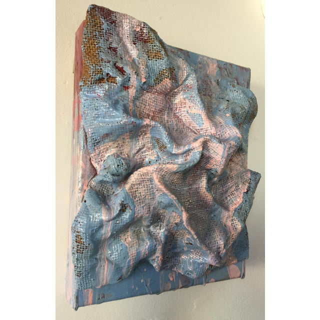 """Abstract """"Sky Blue Burlap Drips"""" Mixed Media Wall Sculpture by Chloe Hedden For Sale - Image 3 of 13"""