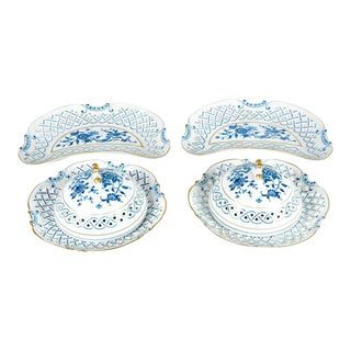 4 Piece Set of Porcelain Tableware For Sale