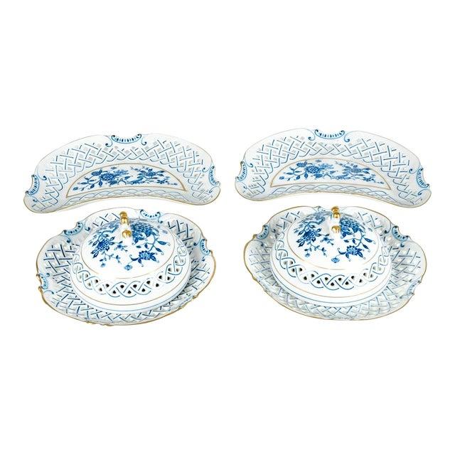 4 Piece Set of Porcelain Tableware For Sale