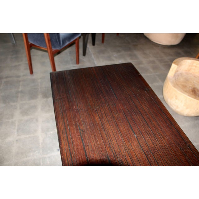 Wood Bamboo Veneered Grained Brown Console For Sale - Image 7 of 10
