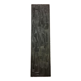 Mid-Century Brutalist Abstract Attributed Nevelson Wood Assemblage Sculpture Wall Art