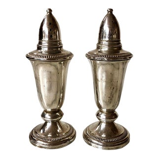 Crown Sterling Weighted Salt & Pepper Shakers - a Pair For Sale