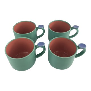 1980s Memphis Style Post Modern Lyndt Stymeist Colorways Thumb Mug Set of 4 For Sale