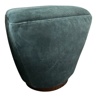 Theo Peacock Distressed Leather Ottoman For Sale