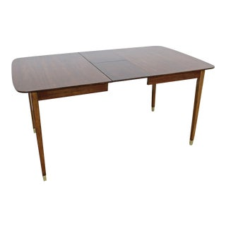 Mid-Century Modern Extendable Walnut Surfboard Dining Table W/ Hidden Leaves For Sale