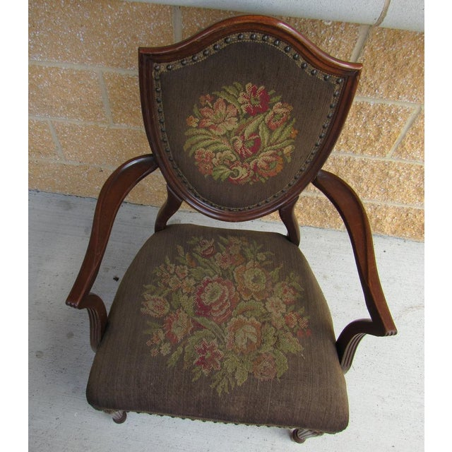 1940s French Louis XVI Shield Back Arm Side Chair With Needlepoint Tapestry For Sale - Image 5 of 7