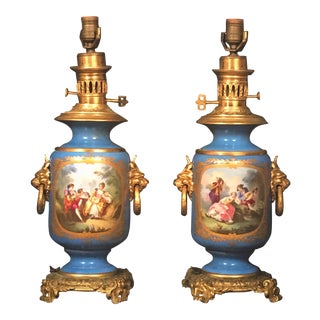 Louis XVI Style French Sevres Blue Porcelain Handpainted Ormolu Mounted Lamps - a Pair For Sale