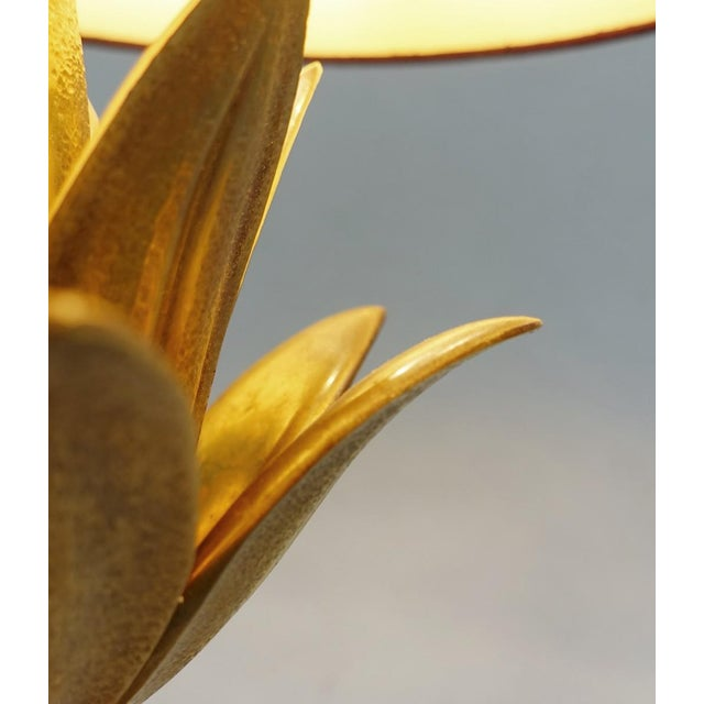 "Contemporary Maison Charles Brass Table Lampe "" Lotus "" - Circa 1960 France For Sale - Image 3 of 8"