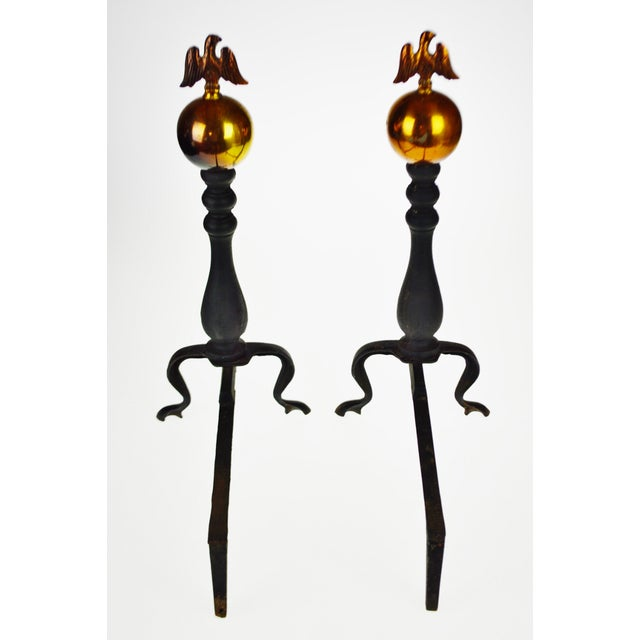 Metal Vintage American Eagle Fire Dog Andirons - a Pair For Sale - Image 7 of 13