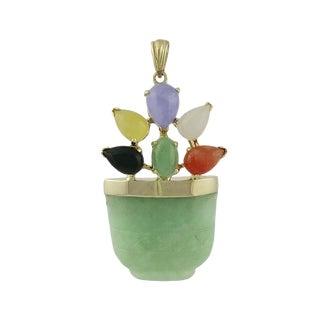 Vintage 14k Gold Jade and Gemstone Basket Pendant For Sale