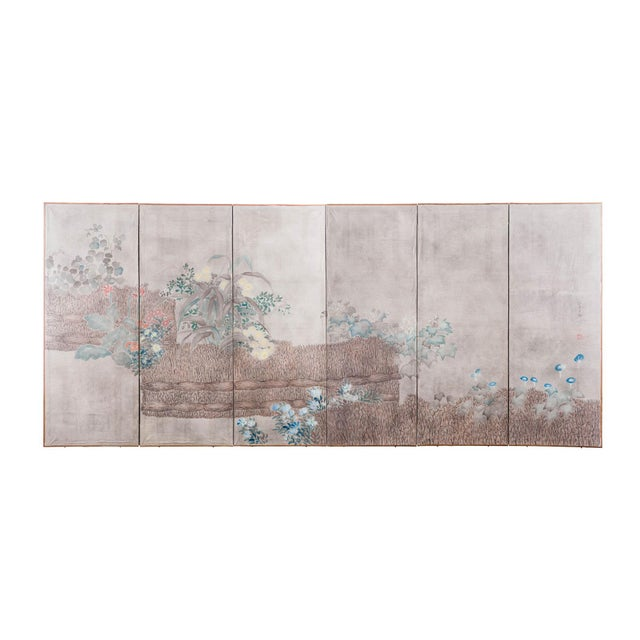 """Sung Tze-Chin Large Chinoiserie Hanging Screen Ink on Paper """"Brushed Wood Fence With Chrysanthemum"""" 11 Feet Wide by 6 Feet Height For Sale - Image 11 of 11"""