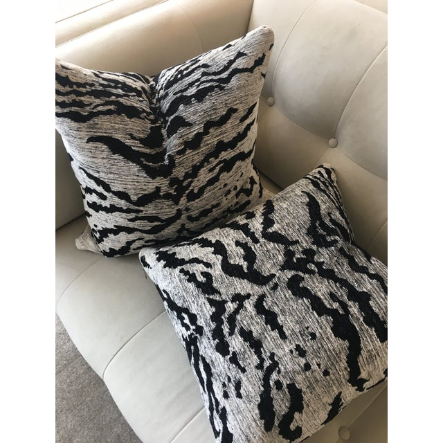 Contemporary Schumacher Black & White Tiger Pillows - a Pair For Sale - Image 3 of 4